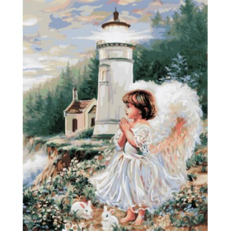Ангел у маяка Раскраска картина по номерам акриловыми красками на холсте | Картина по цифрам купить