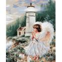 Ангел у маяка Раскраска картина по номерам на холсте