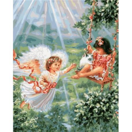 Ангел-хранитель Раскраска картина по номерам акриловыми красками на холсте | Картина по цифрам купить