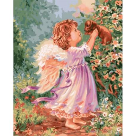Ангелочек со щенком Раскраска картина по номерам акриловыми красками на холсте