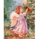 Ангелочек со щенком Раскраска картина по номерам на холсте