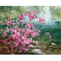Цветущий куст у воды Раскраска картина по номерам акриловыми красками на холсте | Картина по цифрам купить