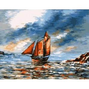 Парусник с алыми парусами Раскраска картина по номерам акриловыми красками на холсте | Картина по цифрам купить
