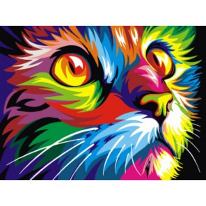 Радужный кот Ваю Ромдони Раскраска картина по номерам на холсте
