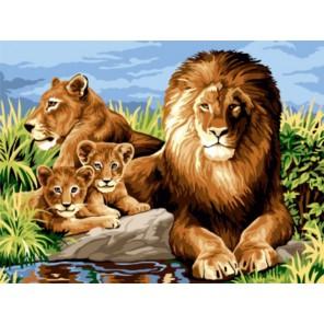 Львиная семья Раскраска картина по номерам акриловыми красками на холсте | Картина по цифрам купить