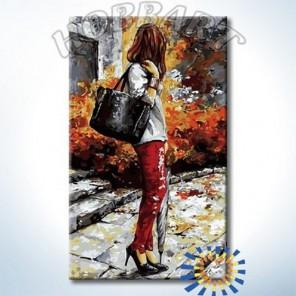 DZ3050006 Девушка с зонтиком Раскраска картина по номерам акриловыми красками на холсте Hobbart
