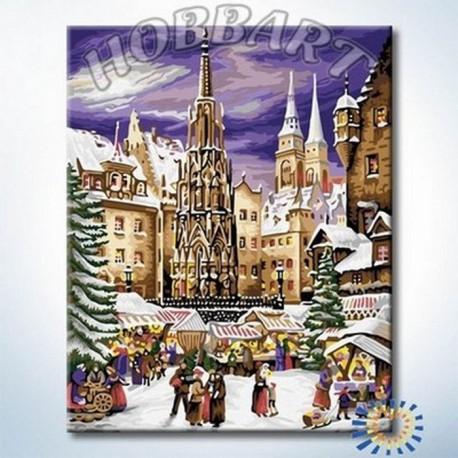 HB4050289 На рождественской ярмарке Раскраска по номерам акриловыми красками на холсте Hobbart