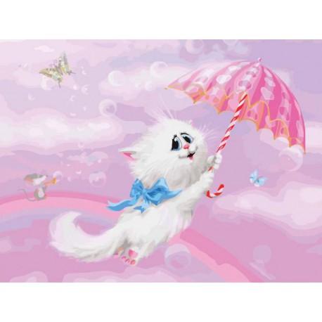 745-AS Белая кошечка Раскраска картина по номерам акриловыми красками на холсте Белоснежка