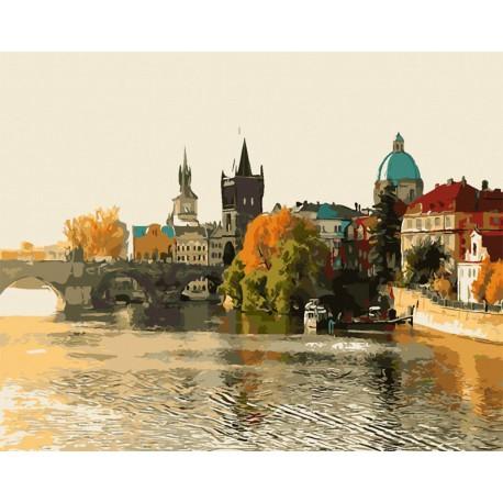 Раскраска по номерам Золотая осень в Праге картина 40х50 ...