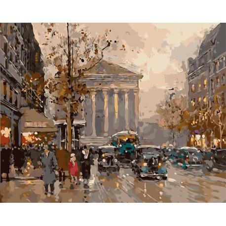 MG2045 Вид на Оперу. Париж (художник Эдуард Леон Кортес) Раскраска по номерам акриловыми красками на холсте Menglei