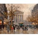 Вид на Оперу. Париж (художник Эдуард Леон Кортес) Раскраска по номерам на холсте Menglei