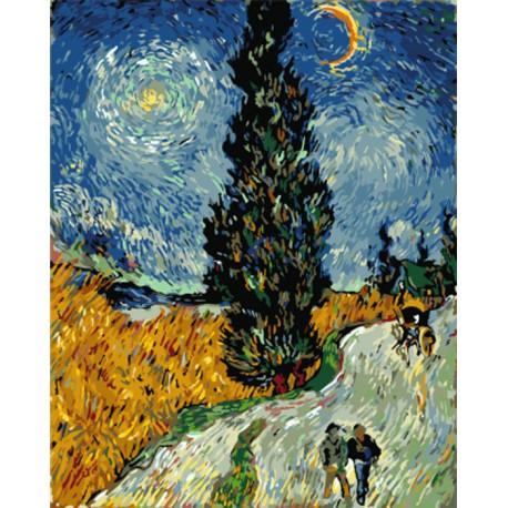кипарисы на фоне звездного неба репродукция ван гога раскраска картина по номерам на холсте Z Gx7927