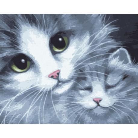 Раскраска по номерам Кошка с котёнком картина 40х50 см на ...