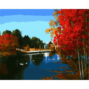 GX7932 Осенняя река Раскраска картина по номерам акриловыми красками на холсте