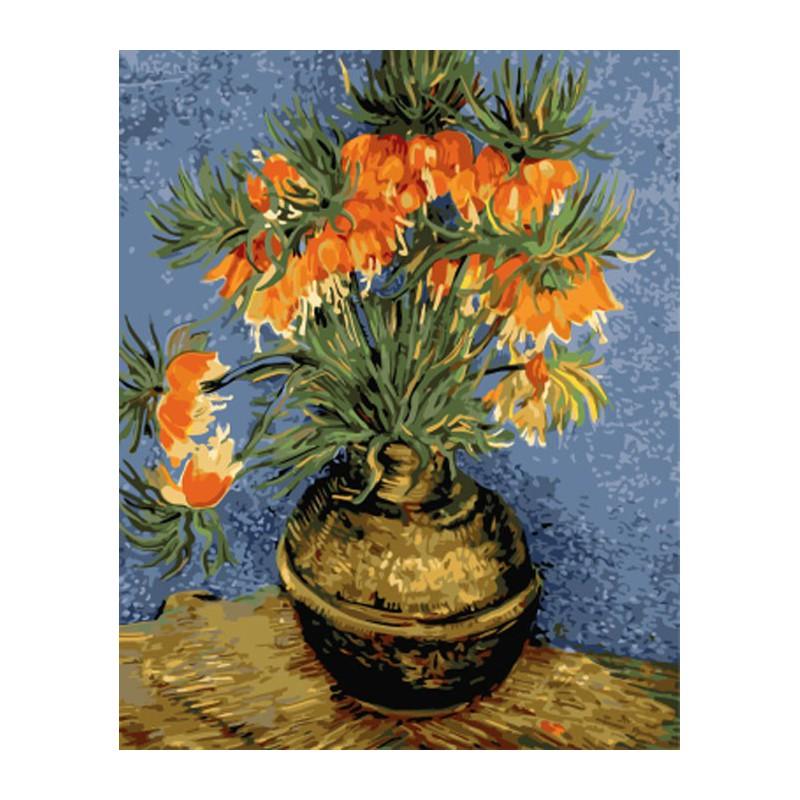 Раскраска по номерам Натюрморт с цветами в бронзовой вазе ...