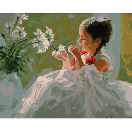 GX8191 Девочка и ромашки Раскраска картина по номерам акриловыми красками на холсте
