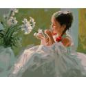 Девочка и ромашки Раскраска картина по номерам на холсте