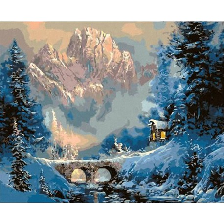 Зима в горах ( художник Тед Блейлок) Раскраска картина по номерам акриловыми красками на холсте Molly