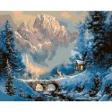 Зима в горах ( художник Тед Блейлок) Раскраска картина по номерам на холсте Molly