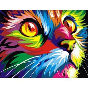 CKC018 Радужный кот Алмазная вышивка (мозаика) на подрамнике Color Kit