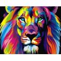 Радужный лев Алмазная вышивка (мозаика) на подрамнике Color Kit
