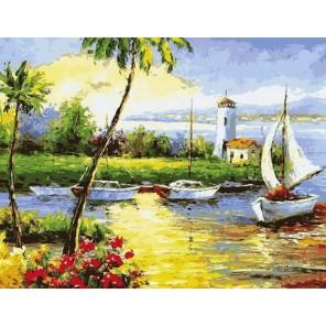 Солнечный берег Раскраска картина по номерам на холсте Menglei