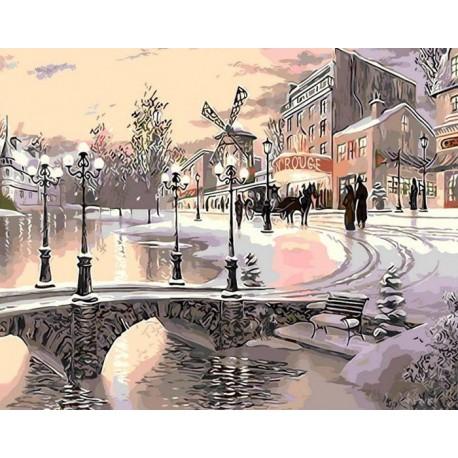 Париж в снегу Раскраска картина по номерам акриловыми красками на холсте Menglei