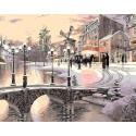 Париж в снегу Раскраска картина по номерам на холсте Menglei