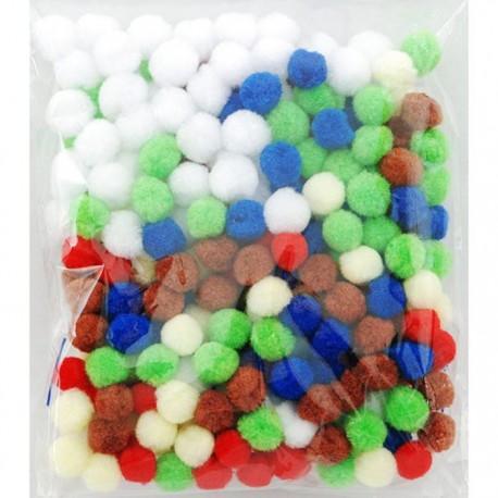 Светлый микс (6цветов) Помпоны декоративные 15мм