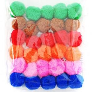 Цветочный средний микс (6цветов) Помпоны декоративные 30мм