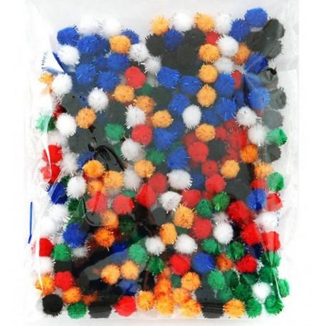 Яркий блеск (6цветов) Помпоны 10мм декоративные с блестящими нитями для детского творчества