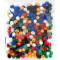 Яркий блеск (6цветов) Помпоны 10мм декоративные с блестящими нитями для поделок и детского творчества