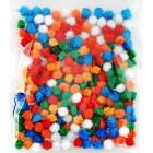 Весенний блеск (6цветов) Помпоны 10мм декоративные с блестящими нитями для поделок и детского творчества