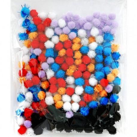 Теплый блеск (6цветов) Помпоны 10мм декоративные с блестящими нитями для поделок и детского творчества