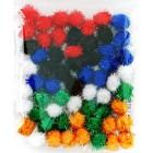 Яркий средний блеск (6цветов) Помпоны 20мм декоративные с блестящими нитями для поделок и детского творчества