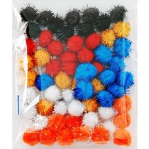 Весенний средний блеск (6цветов) Помпоны 20мм декоративные с блестящими нитями для поделок и детского творчества
