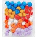 Цветочный средний блеск (6цветов) Помпоны 20мм декоративные с блестящими нитями для поделок и детского творчества