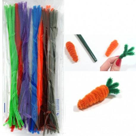 Яркий набор Синельная пушистая проволока (шенил) для поделок и детского творчества с примером поделки