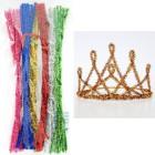 Яркий блеск Синельная пушистая проволока (шенил) для поделок и детского творчества с примером поделки корона для нового года