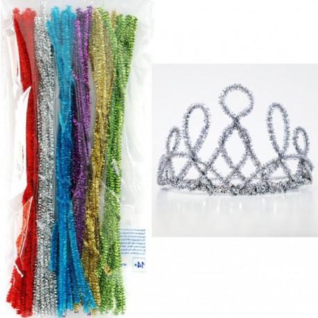 Новогодний блеск Синельная пушистая проволока (шенил) для поделок и детского творчества с примером корона для нового года