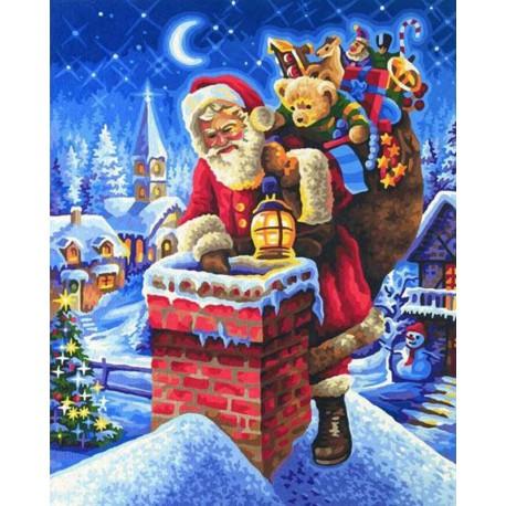 Санта Клаус на крыше Раскраска картина по номерам акриловыми красками Schipper (Германия)
