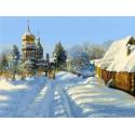 Зимний пейзаж Раскраска картина по номерам на холсте Menglei