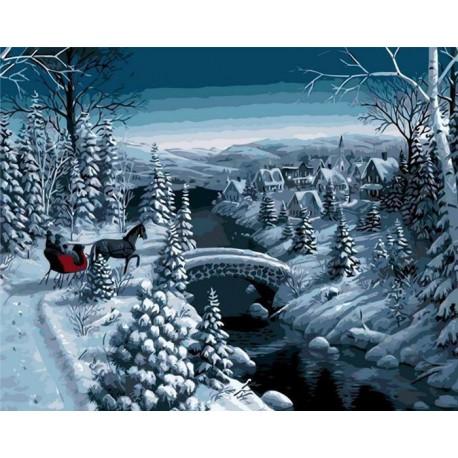 Зимняя прогулка Раскраска картина по номерам акриловыми красками на холсте Menglei