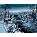 Зимняя прогулка Раскраска картина по номерам на холсте Menglei