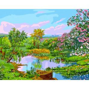 Речной пейзаж Раскраска картина по номерам на холсте
