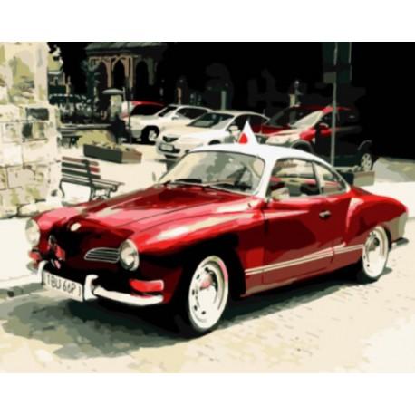 красный ретро автомобиль раскраска картина по номерам на холсте Z Gx8909