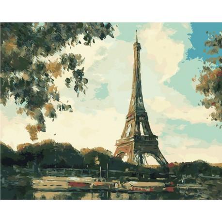 эйфелева башня вечером раскраска картина по номерам на холсте Rsb0396