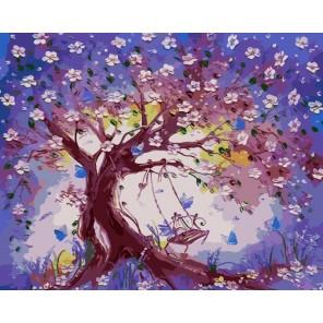 Качели в весеннем саду Раскраска картина по номерам на холсте
