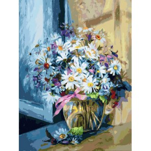 Ромашковое утро Раскраска картина по номерам акриловыми красками на холсте Белоснежка