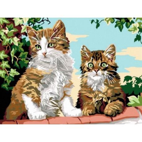 Котята на заборе Раскраска картина по номерам акриловыми красками на холсте